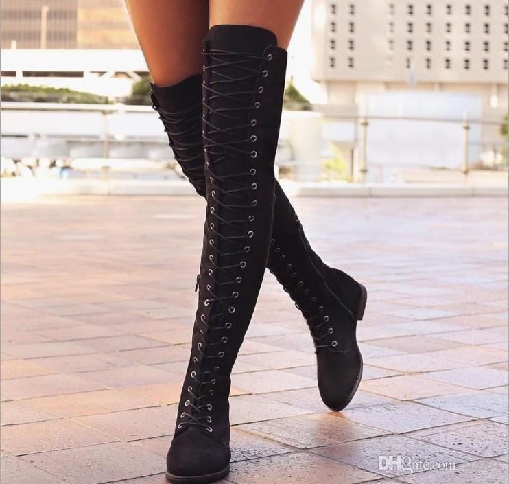 Acquista Nuove Donne Di Alta Moda Femminile Stivali Alti Caviglia Sulla  Neve Scarpe Da Ballo In Pizzo Con Lacci Lunghi Zapatos De Mujer Botas A   28.15 Dal ... 1098536b531