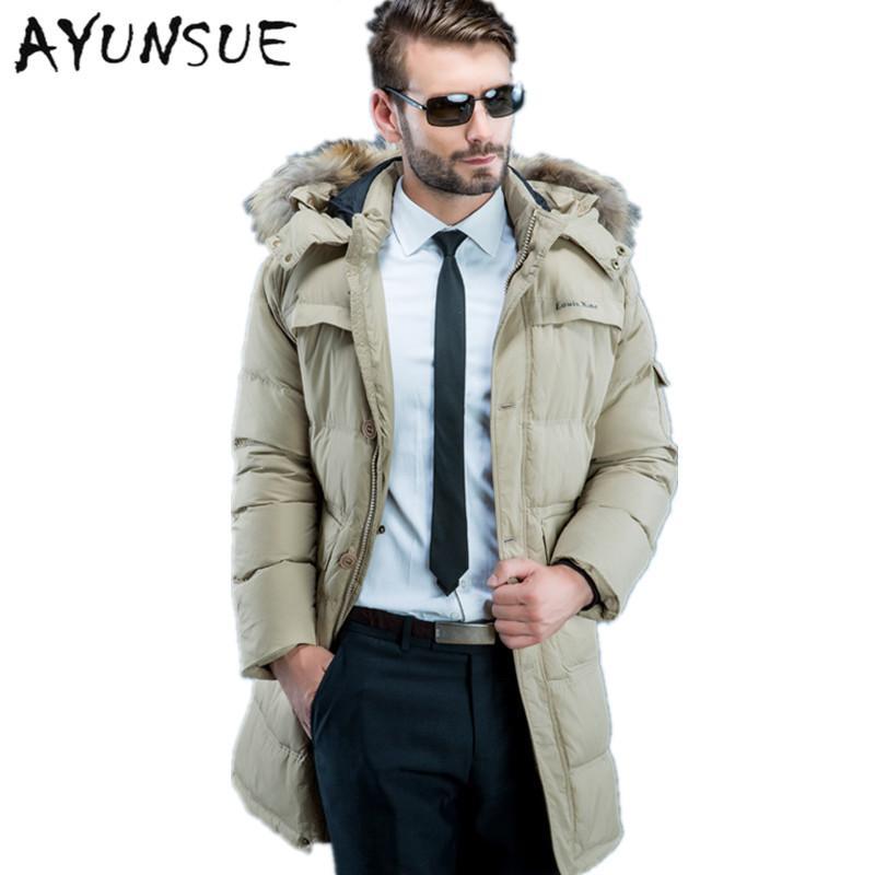 16b5325802d 2018 Winter Jacket Men Duck Down Jacket Men 2017 Slim Long Thick Down Hood  Natural Raccoon Fur Collar Coat Plus Size Hj550 From Humphray