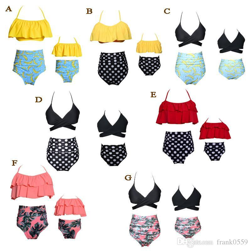 2018 Family Matching Outfits Mother And Daughter Summer Swimsuit Kids Parent High-waisted bikini falbala Swimwear Baby Girls Clothes Family