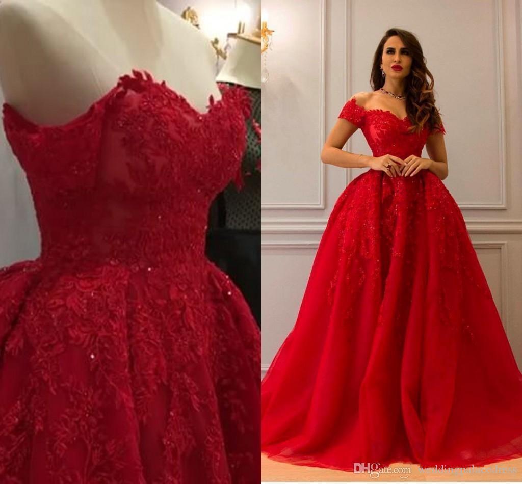 Großhandel Arabisch Dubai Rot Lange Abendkleider Schulterfrei Kurzen Ärmeln  Spitze Applique Bodenlangen Formale Abendkleider Kleider Abendgarderobe