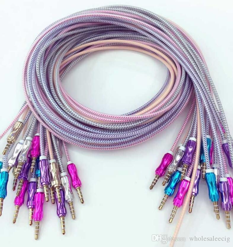 Luxury 3.5mm 1M 3FT Braided AUX Audio Cable Cucurbit Auxiliary Cable Male To Male Stereo Car Extension Audio Cable For MP3 Car Phone 4P