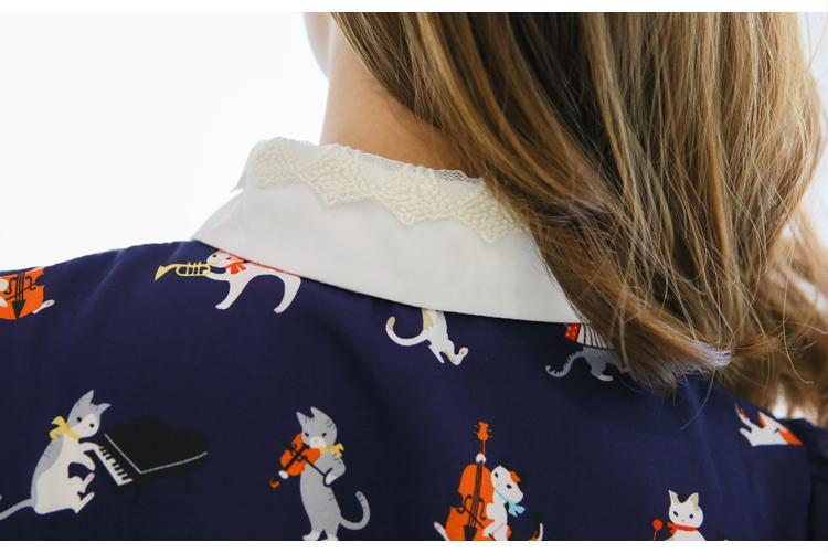 2017 frühling cartoon cat print shirt frauen langarm spitze peter pan kragen chiffon bluse kawaii damen büro shirts blusas