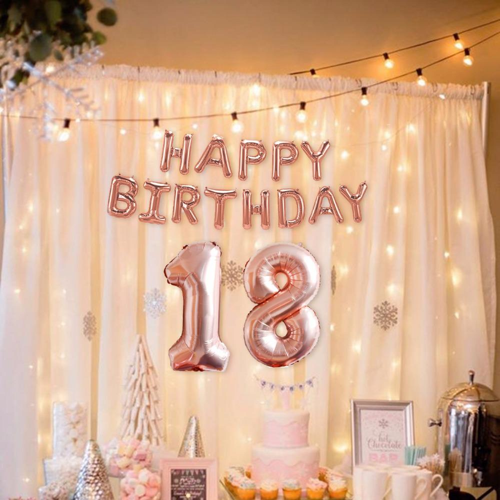 Rose Gold Balloon Champagne Number 18 21 30 40 50 60 Birthday Balloons Party Decoration Happy DecorSPA97 Delivered Large