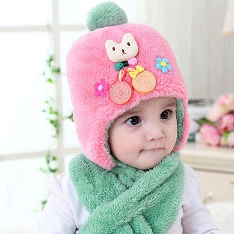 2018 New Baby Hat Scarf Set Cute Cartoon Cat Hats Caps Beanies ... ea1361513740