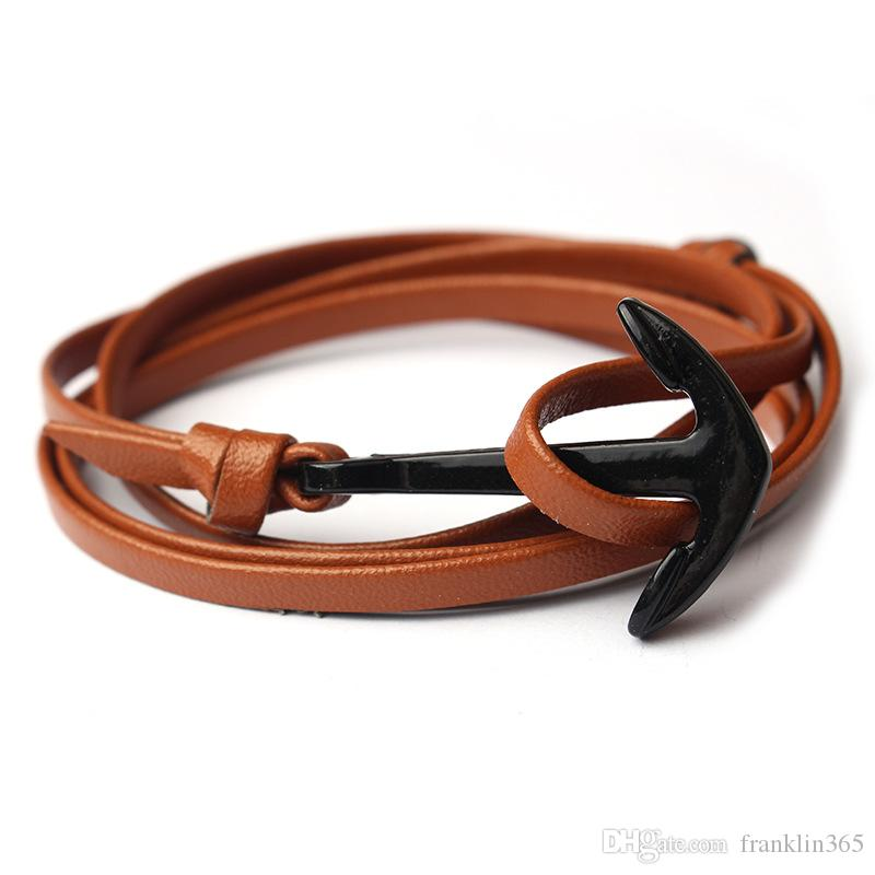 Fashion Leather Charm Bracelet Women and Men Black Colour Anchor Leather Bracelet Fashion Jewelry Holiday Gifts