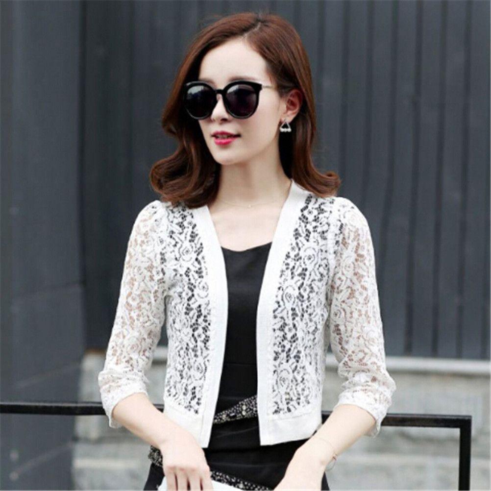9514dffc63 Compre Mulheres De Verão Casuais Quimono Cardigan Feminino Camisa Branca  Blusa De Renda Blusa De Crochê Escritório Kimono Mulheres Plus Size Top  Mais Novo ...