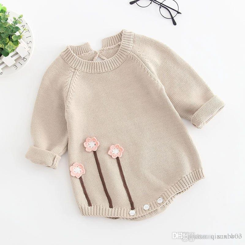 6dfeb5f138ee 2019 New Autumn Infant Baby Knitted Rompers Girls Overalls Knitwear Sweater  Flowers Romper Children Toddlers Climb Clothes Rompers W266 From Qianxiwoo,  ...
