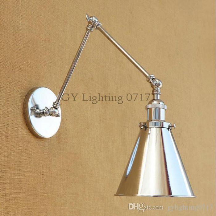 Industrial Art Decoration Chrome Swing Arm Wall Lamp Living Room Dining Room Bedroom Home Adjustable E40 Wall Lighting Sconces Best Bedroom Swing Arm Wall Sconces
