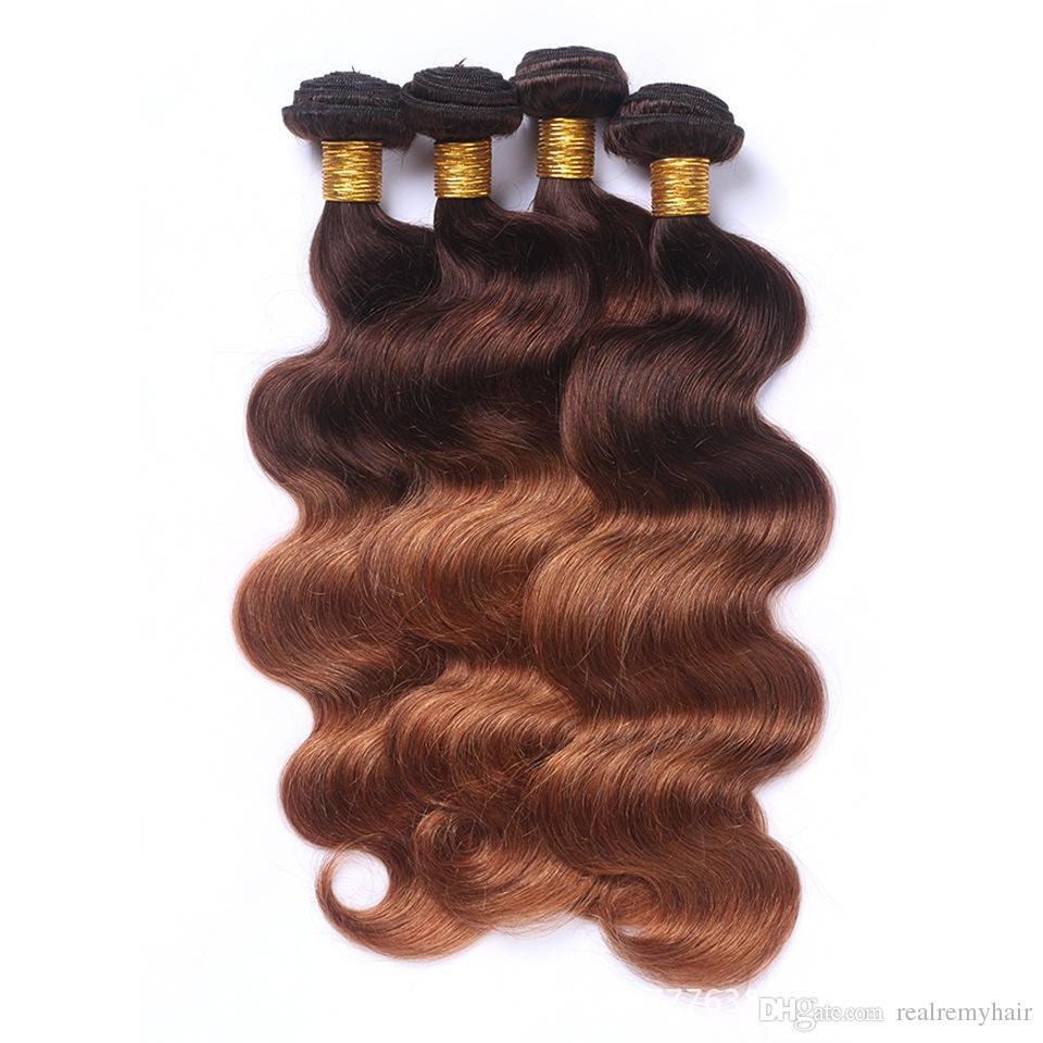 Brazilian Body Wave Dark Brown Human Hair Bundles Colored 4/30 Two Tone Virgin Hair Weave Wholesale Brazilian Human Hair Extensions