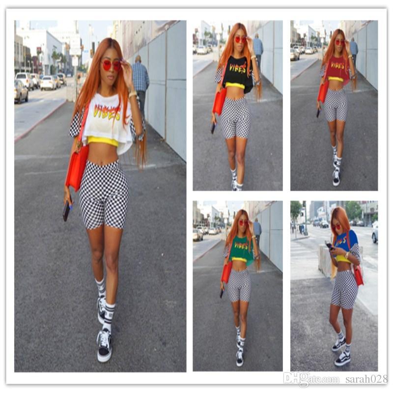 d4a5963caa7 2019 Summer Women VIBES Print White Black Grid Crop Top Short Sets Fashion  Elastic Waist 2 Two Pieces Sets Suit 3XL From Sarah028, $17.07 | DHgate.Com