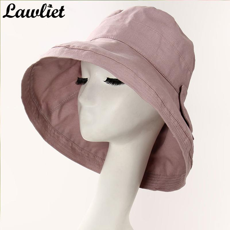 520fe740724 Women Cotton Hats Large Wide Brim Bucket Sun Hats UV Protection Outdoor  Hiking Fishing Beach Big Bow Ladies Floppy Boater Hat Fascinator Hats From  Juemin