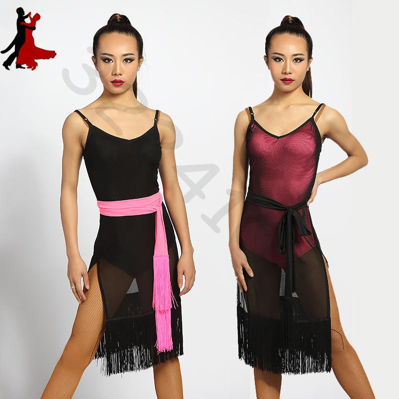 3df98b022e5a 2018 New Sexy Fashion Singer Latin Dance Dress Lace Mesh Side Split ...