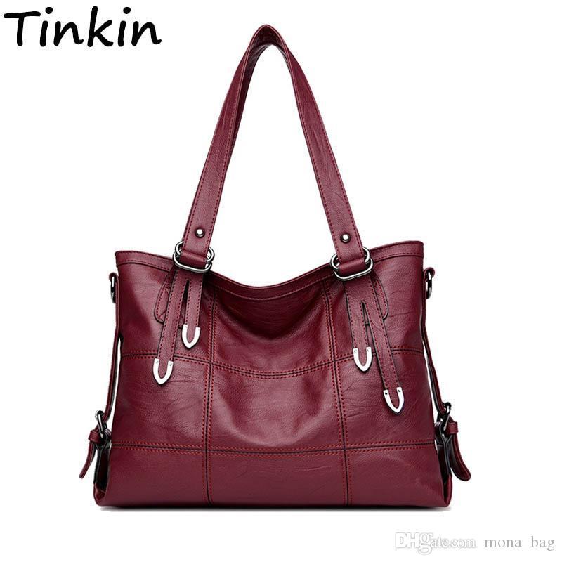 Cheap Tinkin Casual Patchwork Women Shoulder Bag Large Vintage Femal Handbags  Tote Large Hobos Bag Crossbody Bags Luxury Bolsa Femini 591a6552dc