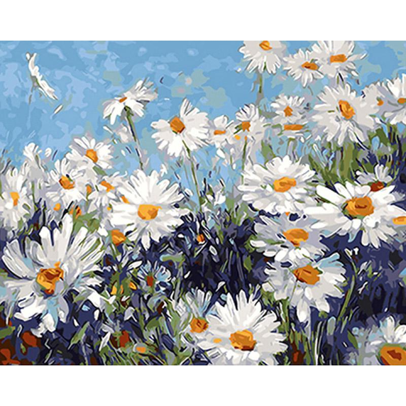 Frameless White Flowers Diy Painting By Numbers Modern Wall Art
