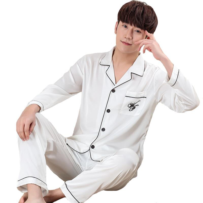 2019 NEW Style Men Sleepwear Spring Casual Home Clothes Faux Silk Pajamas  Pijama Set Oversize XXXL Long Sleeve Nightwear Suit From Bunnier 22a7bfe76
