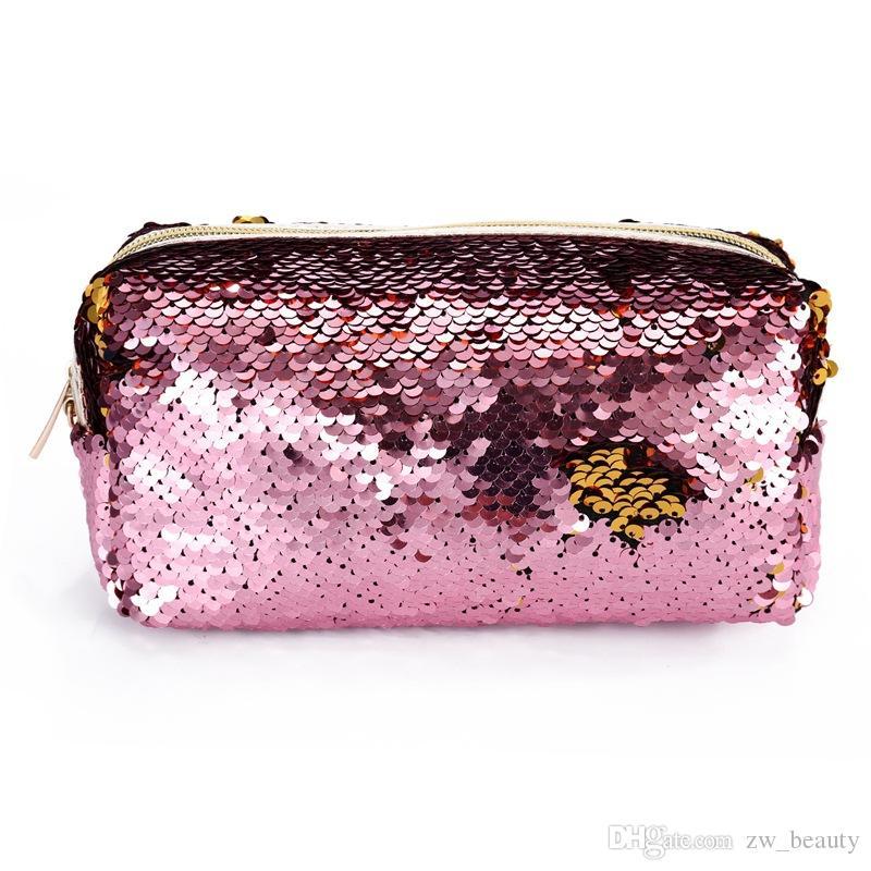 Hot fashion Meerjungfrau Pailletten Kosmetiktaschen Bleistift Taschen für Studenten Frauen Clutch gold rosa schwarz 6 Farben.