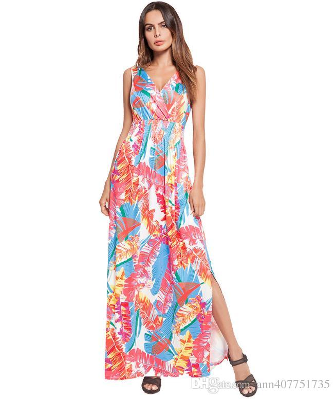 91583b389d7d4 2018 summer European women's wear, Amazon, beach, fork, long dress, printed  dress new style New sexy V collar