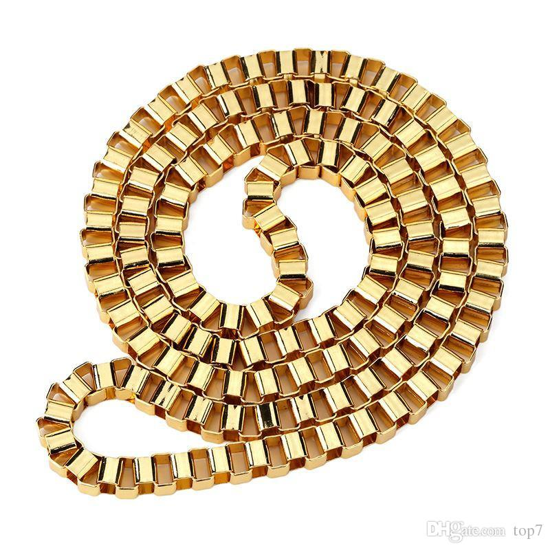 2018 6.1mm Width Thick Gold Color Box Chain Necklace For Men Women 80cm Long Fashion Hip Hop Jewelry The Best Christmas Gifts