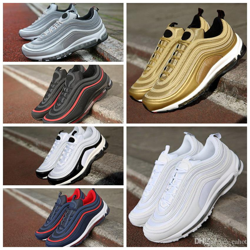 2018 Air 97 Ultra OG Metallic Gold Silver Bullet Men 97s Anniversary  Running Shoes Fashion Retro White Mens Trainers Sports Sneakers 40-45 Air  97 97 Shoes ...