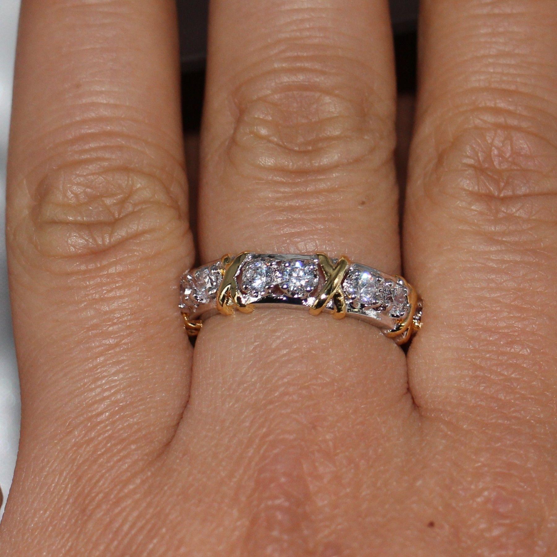 All'ingrosso Eternity professionale Diamonique CZ diamante simulato 10KT WhiteYellow Gold Filled Wedding Band Croce Ring Size 5-11
