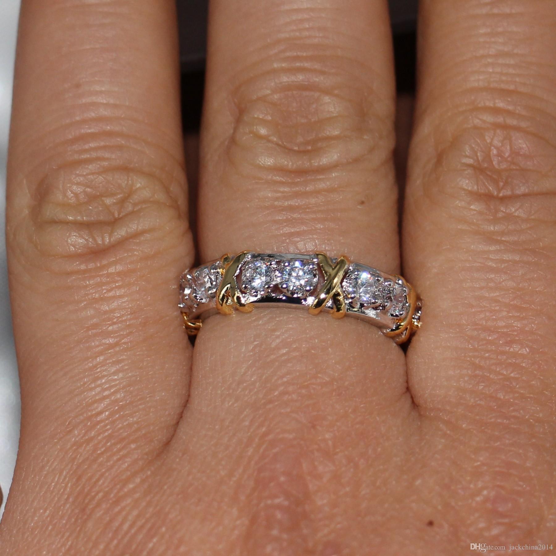 Wholesale Professional Eternity Diamonique CZ Simulated Diamond 10KT White&Yellow Gold Filled Wedding Band Cross Ring Size 5-11