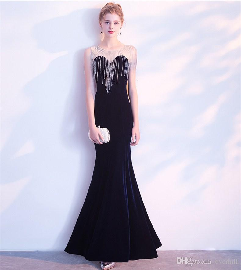 c685b13b51afb Stylish Velvet Mermaid Long Evening Dresses For Prom 2018 Shiny Rhinestone  Tassel Sheer Neck Formal Gowns Party Dresses Robe Longue Soiree