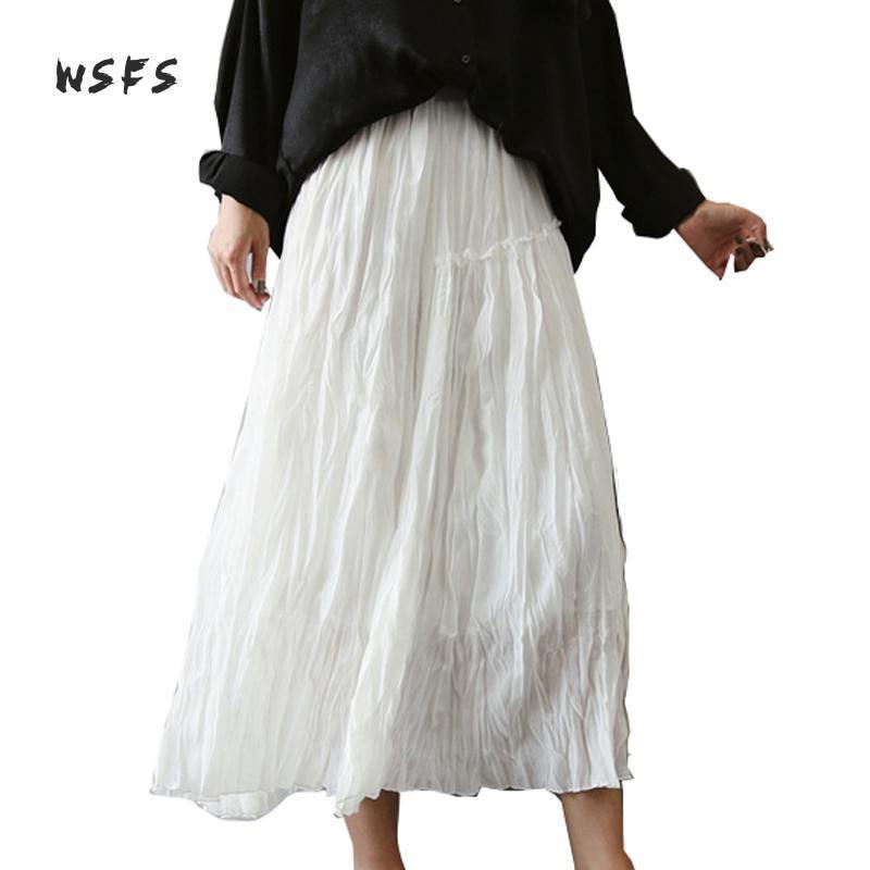 67b4662792 2019 Wsfs Summer Cotton Linen Skirt Black White Elastic Waist Ruffles  Wrinkle Long Skirts Womens Casual Midi Asymmetrical Aline Skirt From  Tayler, ...