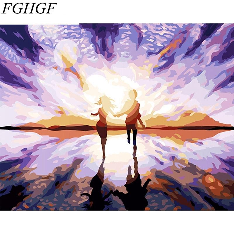 2018 Fghgf Purple Romantic Diy Painting By Numbers Modern Abstract ...
