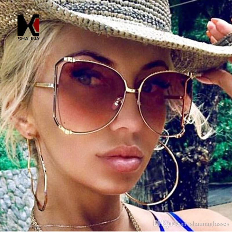 eeed40f724 SHAUNA Oversize Metal Half Frame Women Butterfly Sunglasses Fashion  Venetian Pearl Decoration Men Gradient Clear Lens Shades UV400 Sunglasses  Oversize ...