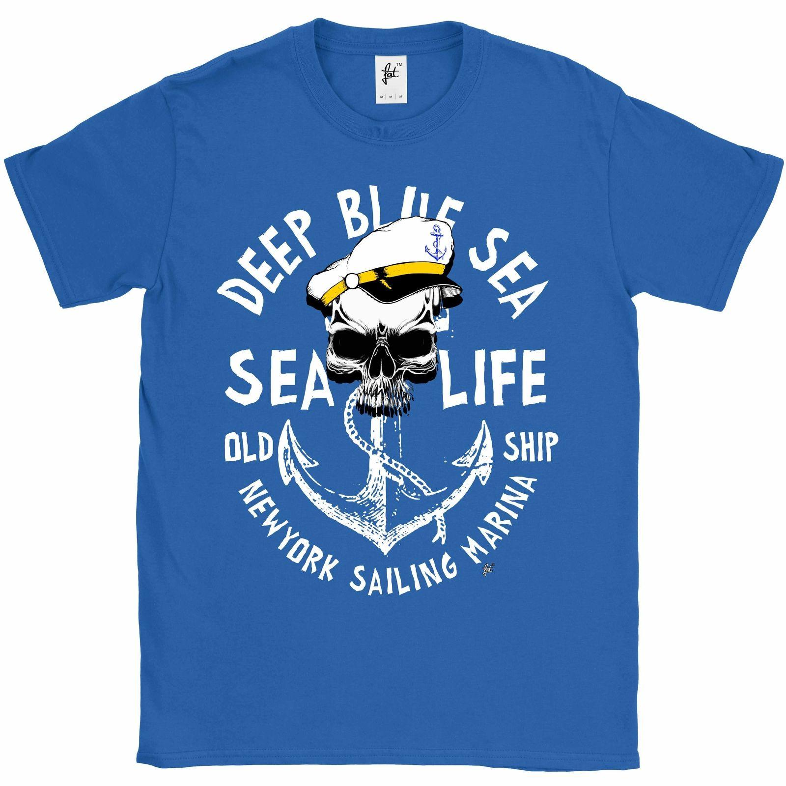 Deep Blue Sea Life Captain Skull   Anchor Mens T Shirt Funny Casual Tee  Fitted Shirts T Shirt Sale From Fatcuckoo 2846223c90f1