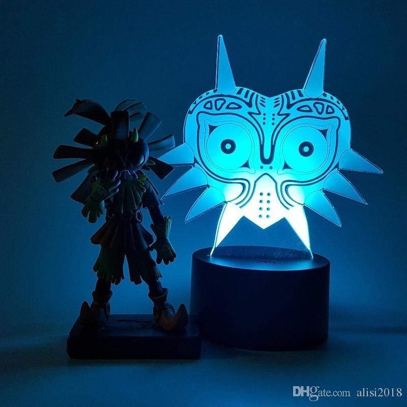 Crâne 3d Led Enfant Illusion Visuelle Figure Masque Zelda Table Veilleuse Usb La Lampe Rgb Action De Légende Majoras wON80mvn