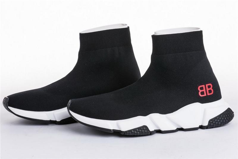 Triple S Speed Trainer Nero Knit Calze scarpe sportive, triple neri piani di modo calzini stivali, con la scatola