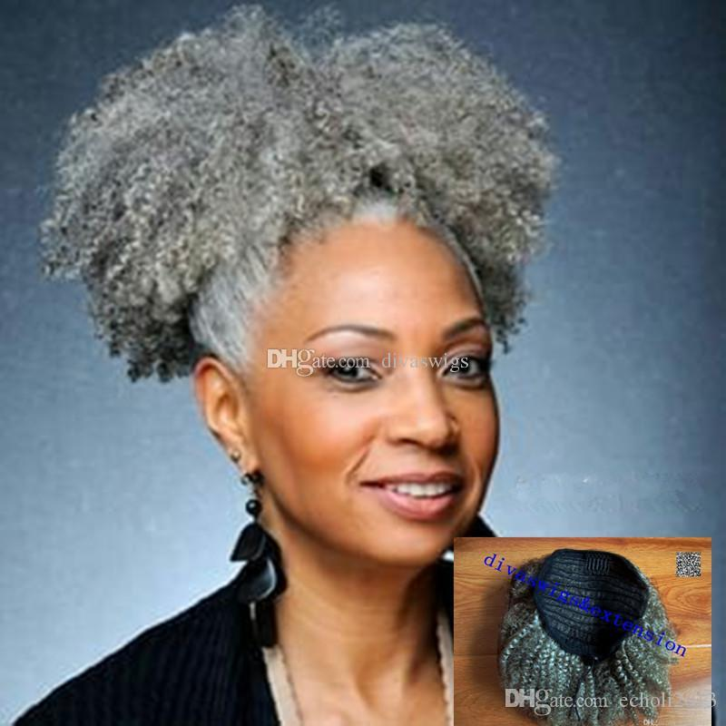 Afro Kinky Curly Weave Ponytail Hairstyles Clip Ins Gray Hair