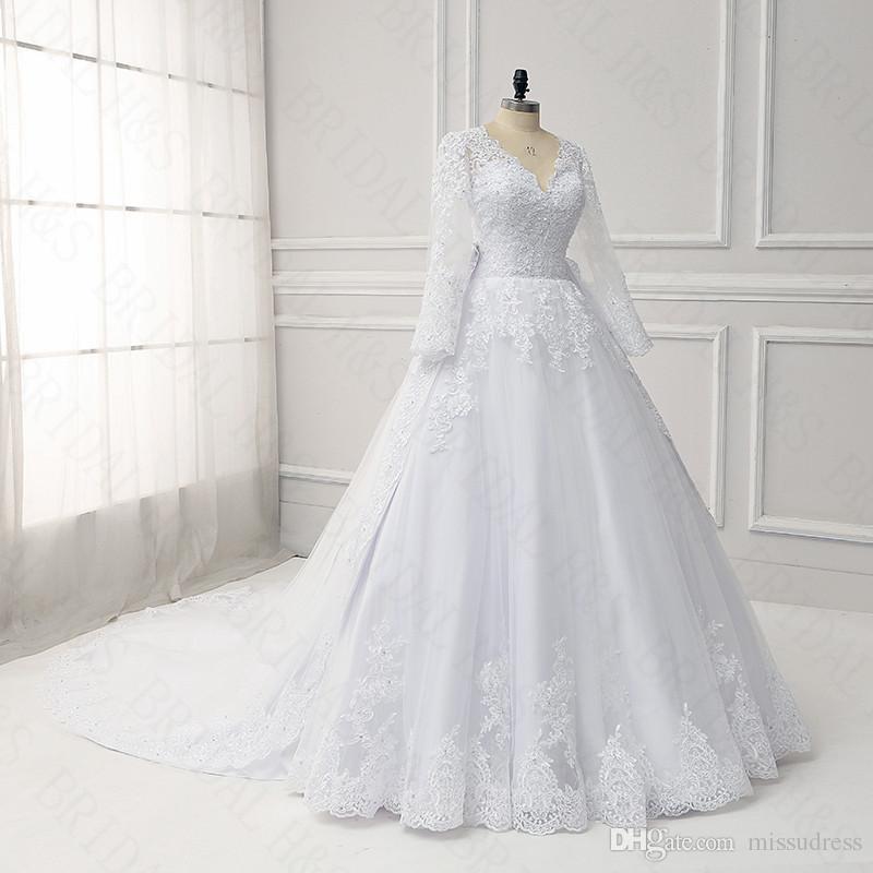 Plus Size Long Sleeve Wedding Dresses Detachable Train V