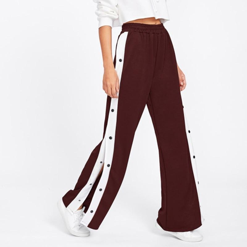 dff6ee580473 2019 Summer Autumn Women Pants Fashion Sexy Hit Side Split Casual Loose  Wide Leg Pants Button Stretch Long Loose Trousers From Mobile06