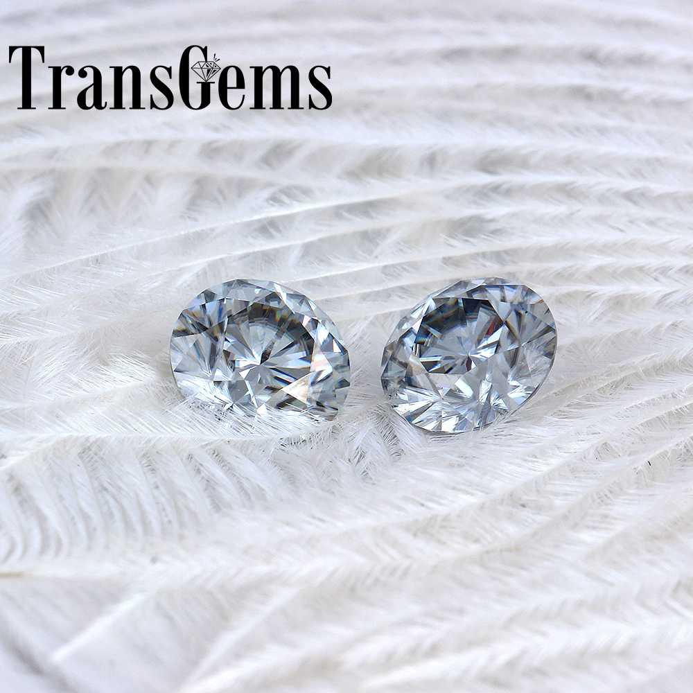 TransGems 8mm 2Carat grey Color Certified Man made Diamond Loose Moissanite Bead Test Positive As Real Diamond Gemstone 1pcs