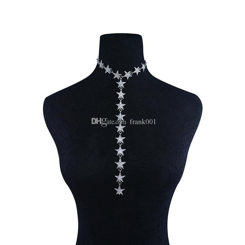 Femmes dames de luxe or argent long cinq étoiles pointues tour de cou collier nouveau cristal strass étoiles colliers filles mode bijoux de corps