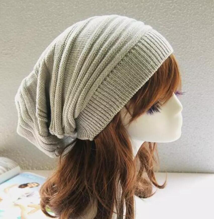 Winter Wrinkle Knitted Crochet Baggy Hat Beanie Cap Winter Warm Street Hip Hop Caps Stripe Beanies Skullies Hats
