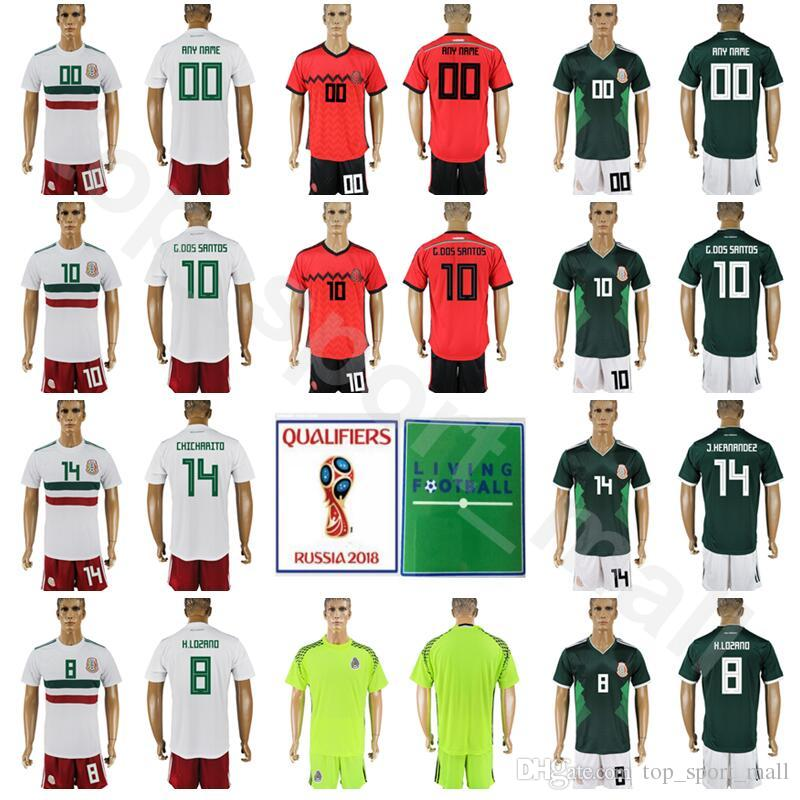 fc0543fd522 2019 World Cup 2018 Mexico Jersey Soccer Set 10 Giovani Dos Santos 14 Chicharito  Javier Hernandez 22 Hirving Lozano Football Shirt Kits With Pant From ...