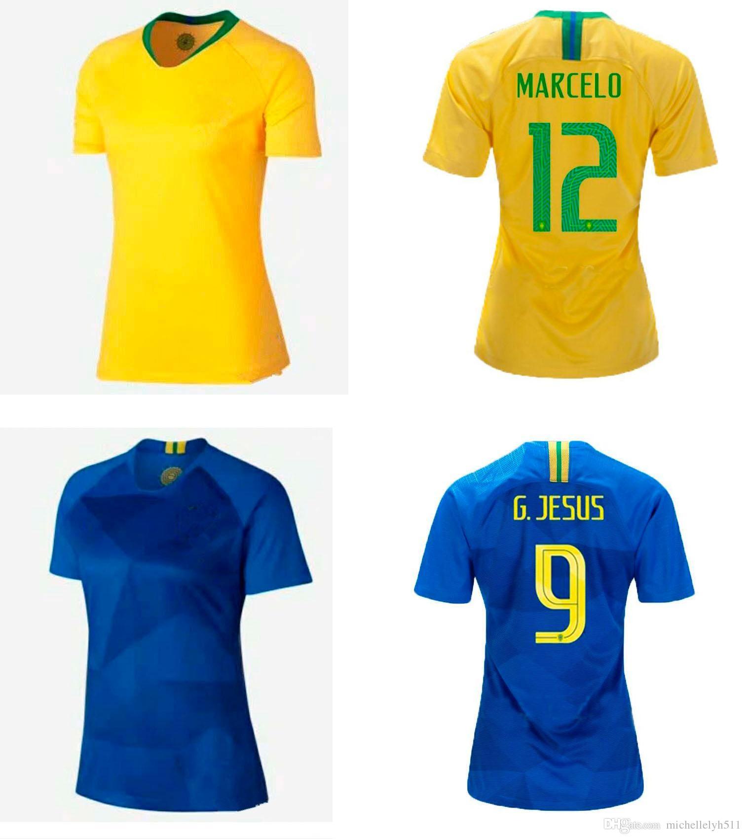 307455d32c Compre 18 19 Lady Camisa De Futebol Da Seleção Brasileira Casa Fora De Camisas  Femininas De Futebol MARCELO P.COUTINHO G.JESUS Topos De Futebol Uniformes  ...