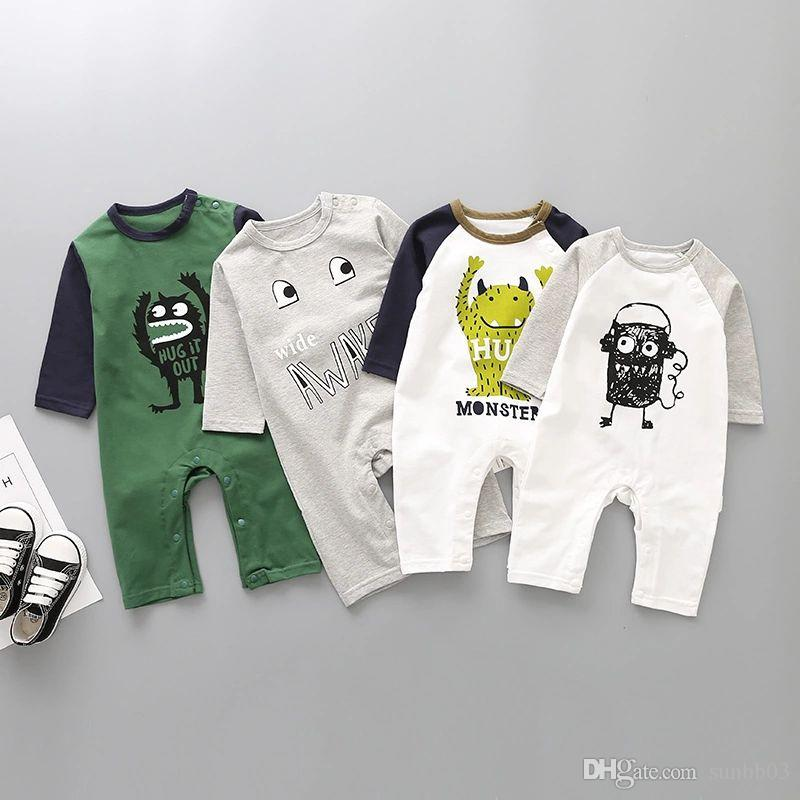 4f1aee7ce129 Spring Autumn Europe Infant Baby Cartoon Monster Rompers Boys Girls ...