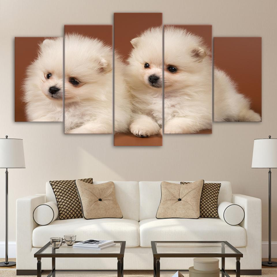 Home Decoration Posters Frame Living Room Wall 5 Panel Lovely Little White  Dog Modern Painting On Canvas Art Pictures HD Printed