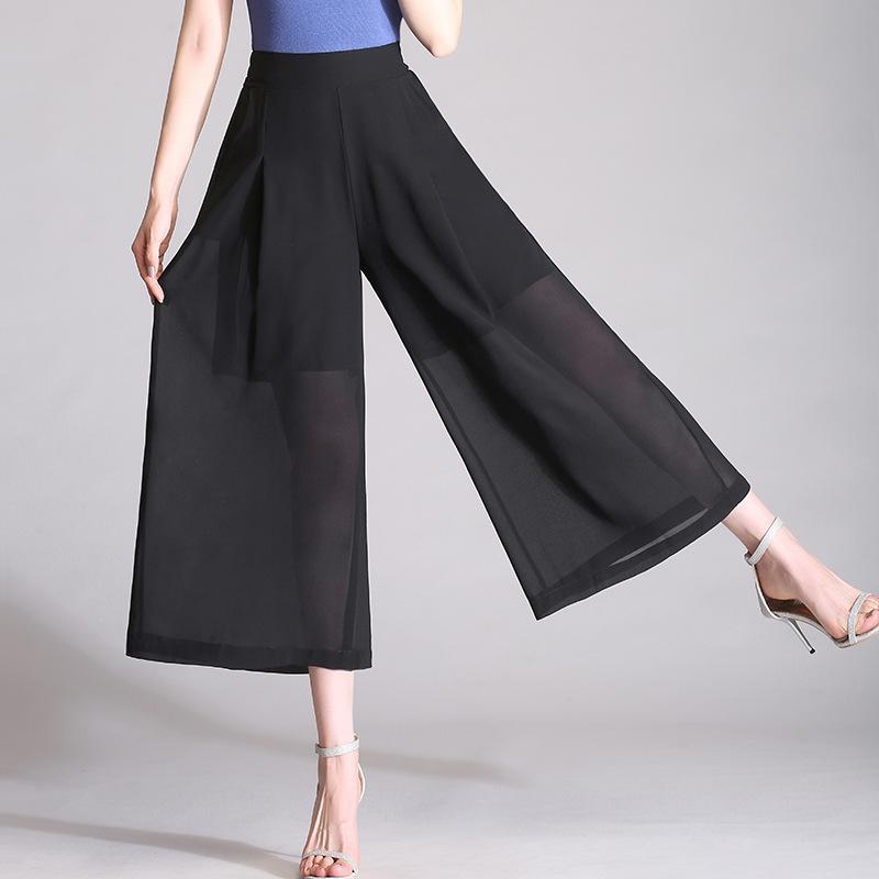 a138621a93 Compre Pantalones Anchos De Gasa Para Mujer Cintura Alta 2018 Estilo  Coreano Parte De Abajo De La Moda Sólido Elegante Verano Pantalón Largo  Para Mujer ...