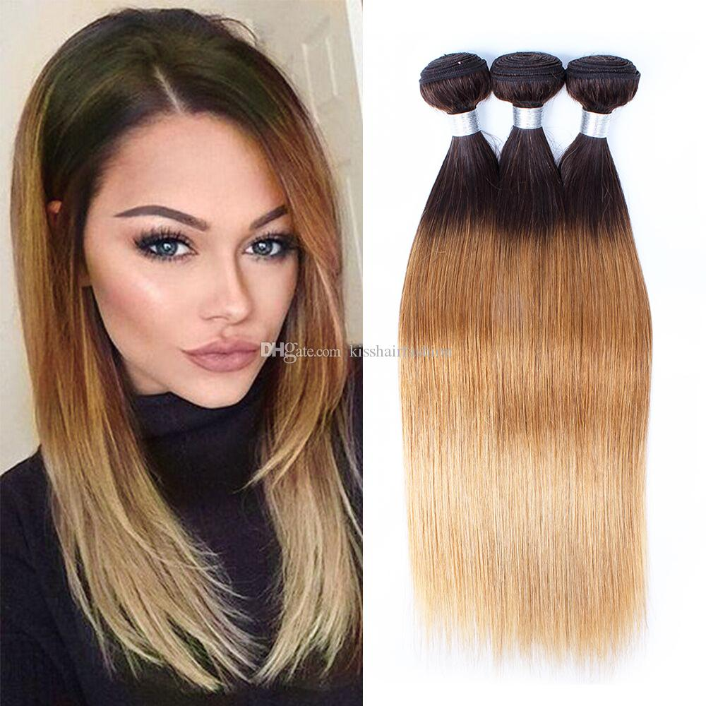 T4 30 27 Brown Blonde Brazilian Ombre Human Hair Weave Bundles Silky Straight Body Wave Ombre Braiding Peruvian Cambodian Indian Remy Hair