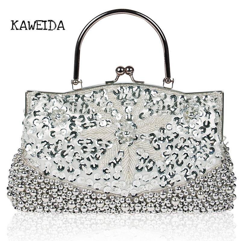 dfcf6934946 Ladies Evening Hand Bags Shiny Minaudiere Beaded Sequin Design Flower Satin  Evening Purse Large Party Wedding Clutch Bag Sier