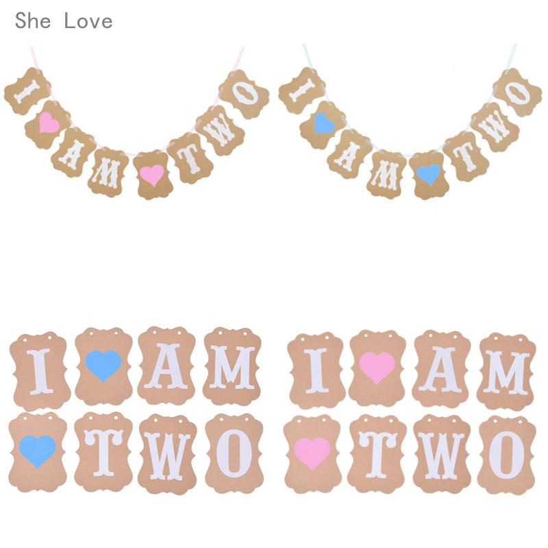 2019 Wholesale She Love I Am Two Banner 2 Years Birthday Decorations 2nd Boy Girl Second Party Supplies From Merryseason 2168