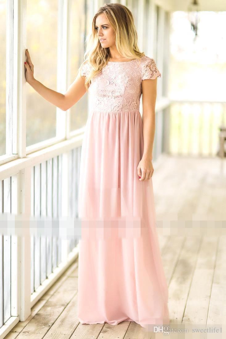 2019 Cheap Mint Green Long Bridesmaid Dress Country Style Open Back Lace Chiffon Maid of Honor Gowns Wedding Guest Dresses