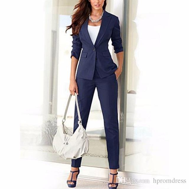 Jacket Pants Navy Blue Women Business Suits Cotton Blended Formal