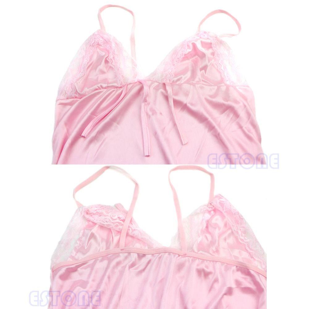 Seksi Pijama Gecelik Elbise Kadınlar Saten Ipek Babydoll Dantel Bornozlar Uyku Gömlek