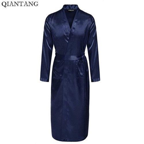 a7ff6f9bf0 NAVY BLUE Mens Robe Hot Sale Faux Silk Kimono Bath Gown Bathrobe Nightgown  Sleepwear Hombre Pijama Size S M L XL XXL LS004F Mens Robe Robe Men Mens  Robes ...